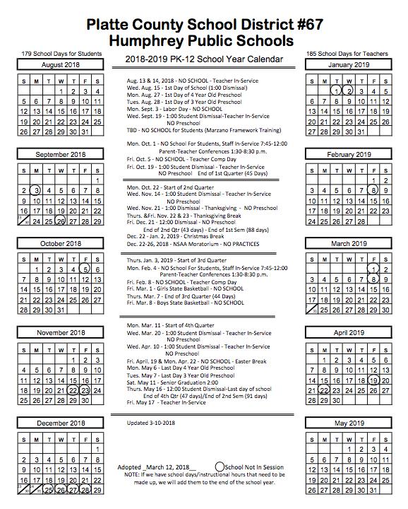 year long calendar 2018