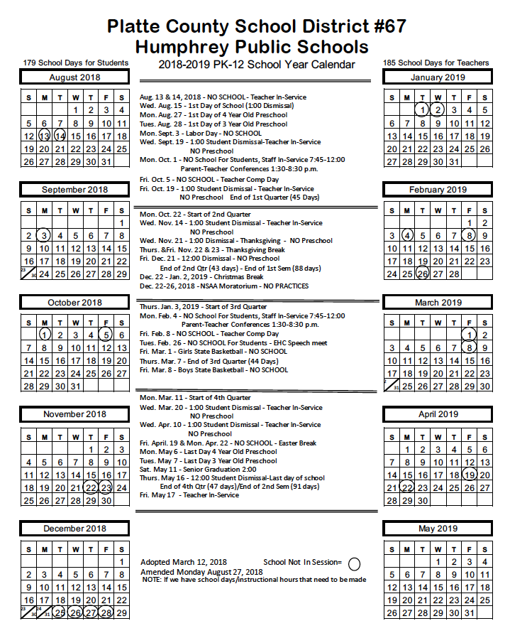 school year long calendars